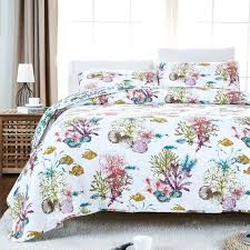 beach themed duvet covers ocean fish comforter set nautical bedding queen size soft cotton bed quilt