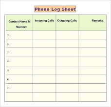 Phone Log Template For Teachers Printable Sheet Sales Call Excel