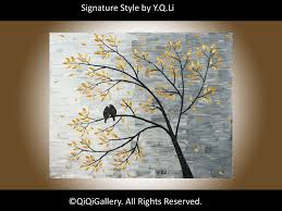 Original Modern Abstract Heavy Texture Impasto Palette Knife Painting  Landscape Tree Love Birds Wall Dcor
