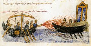 history of depiction of the greek fire by john skylitzes chronicle late 11th century
