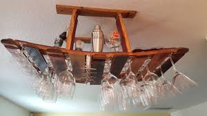 custom made wine barrel hanging wine glass rack