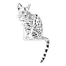 Fototapeta Bengálská Kočka Izolovaných Zvířat Vektorové Ilustrace Tetování