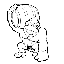 Leuk Voor Kids Kleurplaatdonkey Kong Met Zijn Ton Crafts Coloring