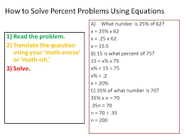 how to solve percent problems using equations 1 read the problem