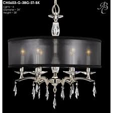 kaya 6 light crystal chandelier finish polished brass shade color black hardback