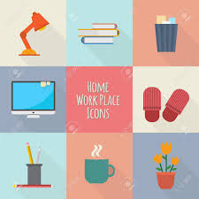 design freelancer home workplace icons set workspace for freelancer and home work