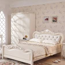 french bedroom furniture set. french luxury bed ivory white flannel real wood european-style solid bedroom furniture set