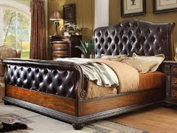 queen size leather sleigh bed