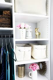 fabric storage totes in an organized master closet