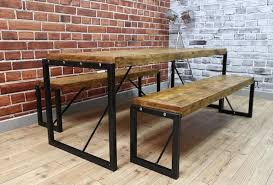 industrial dining table steel reclaimed wood benches set