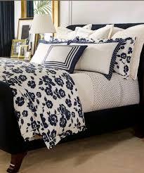 ralph lauren modern glamour serena king duvet cover cream navy blue fl new