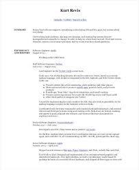 Experienced Software Engineer Resumes Sample Software Developer Resume Senior Software Engineer