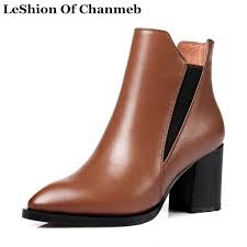high quality natural leather ankle boots woman shoes autumn winter warm chelsea boots black tan thick high heeled booties botas