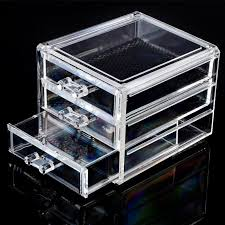 Acrylic Make Up Organizer 3 Drawers Storage Box Clear Plastic Cosmetic  Storage Box Organizers Clear Cotton Pads Plastic Box-in Storage Boxes &  Bins from ...