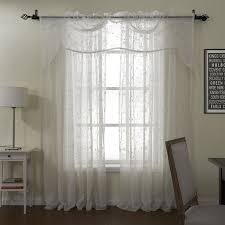 finery white embroidery sheer with valance curtain set sheer sheercurtain custommade curtains