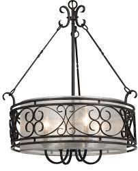 bronze forged iron sheer drum pendant light 24 w