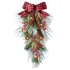 Lighted Holiday Bow Amazon Com Collections Etc Lighted Led Berries Pinecone