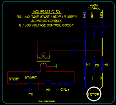 basic start stop ac motor control schematics ecn electrical forums schematic 2 full voltage start stop 3 wire ac motor control control circuit low voltage via transformer connected to motor circuit