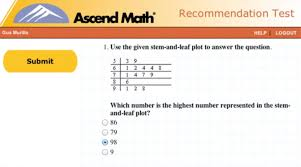ascend math level remendation test