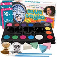 blue squid face paint kit for kids 52 pieces 14 colors 2 glitters