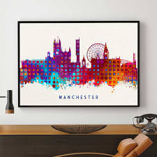 manchester city manchester skyline manchester wall art decor birthday gift home decor on manchester skyline wall art with manchester city manchester skyline manchester wall art decor