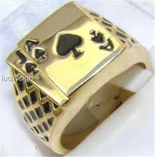 Jack Spade Size Chart Details About 18k Gold Ep Lucky Ace Spades Jack Mens Card Ring Size 8 14 U Choose