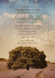 memorial service invitation oak tree lavender field memorial service invitations
