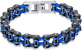 Feraco Mens Bikers Bracelet <b>Stainless Steel Motorcycle Bike</b> Chain