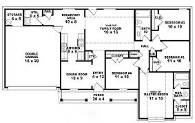 4 bedroom ranch house plans. 2 Story 5 Bedroom House Plans One 4 Bedroom, Bath Traditional Ranch Style B