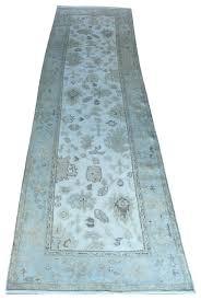 3x11 hand knotted ivory light blue oushak runner rug