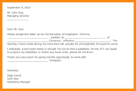 good letter of resignation writing a letters of resignation good week notice letter weeks