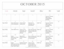 Free Editable Printable October 2015 Cleaning Calendar Money