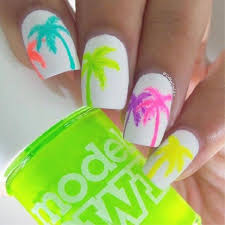 neon palm tree nail design