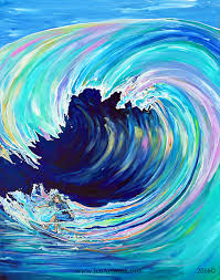 colorful pastel wave painting wipeout 1400 00 original painting by jen can beach canvas
