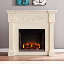 freestanding carved electric fireplace in ivory