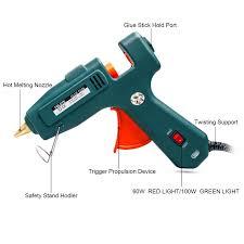 Green Light Trigger High Power Hot Glue Gun Kits 10pcs Glue Sticks High Temperature