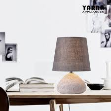 Contemporary Table Bedside Lamp Concrete Body Grey Fabric Shade 1
