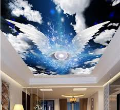 3d room wallpaper custom mural non woven angel wings sky white clouds ceiling murals paintings