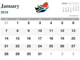 january 2018 calendar southafrica