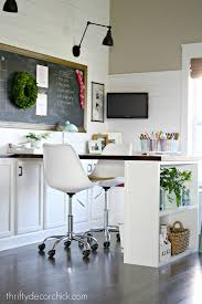 Craft office ideas Design Ideas Craft Room Office Hangout Space Via Thrifty Decor Chick The Happy Housie Creative Thrifty Small Space Craft Room Organization Ideas The