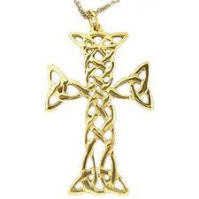 14k gold silver celtic cross pendant