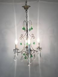 vintage italian crystal chandelier with green murano glass drops 2