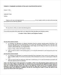 Adverse Action Notice Form