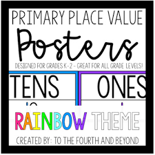Place Value Chart For 1st Grade Primary Place Value Chart Posters Rainbow Theme