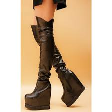 fsj shoes black long boots wedge heels knee high boots for women image 2
