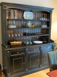 Hand Crafted Custom Black Rustic China Cabinet From Salvaged Barn