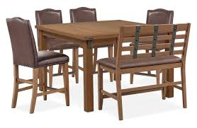 Hampton Counter Height Dining Table 4 Upholstered Stools And Bench