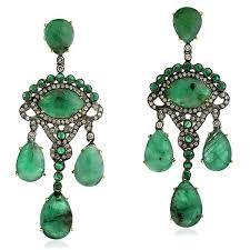 image is loading emerald 18k gold chandelier earrings 925 sterling silver