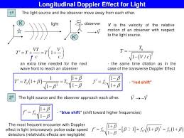 longitudinal doppler effect for light 10 the light source and the observer move
