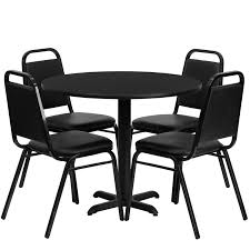 36 round laminate table set with 4 black tzoidal back banquet chairs 3 table colors